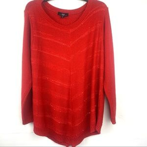 AGB Red Sparkly Long Sleeve Scoop Neck Sweater 1x